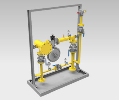 There is a gas pressure regulator box with one pressure reduction line and a by-pass.