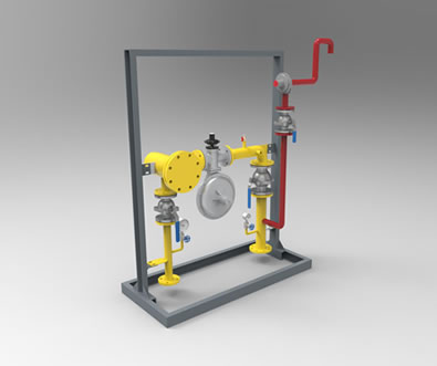 There is a gas pressure regulator box with one pressure reduction line.