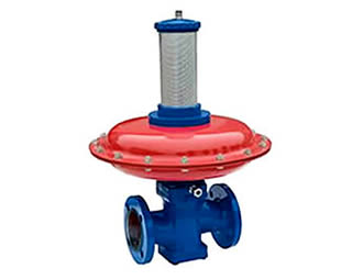 There is a regulator with a red valve and a dark blue body.