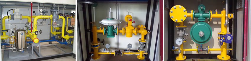 There are three pictures of gas pressure regulator cabinets.