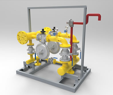 There is a gas pressure regulator box with two pressure reduction line and a by-pass.
