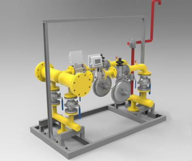 There is a gas pressure regulator box with two pressure reduction line.